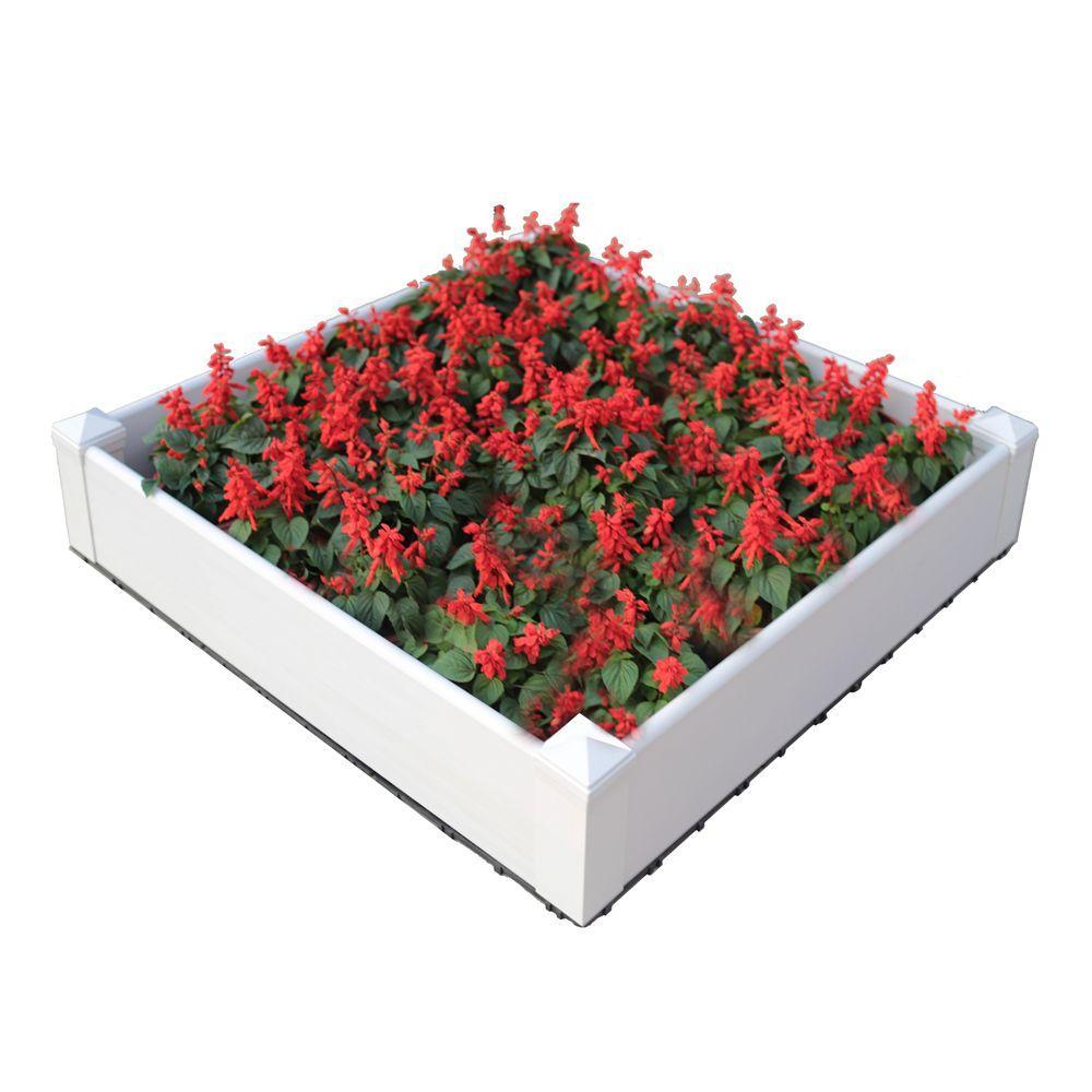 43.2 in. x 43.2 in. Composite Lumber Patio Raised Garden Bed Kit in Hyams White