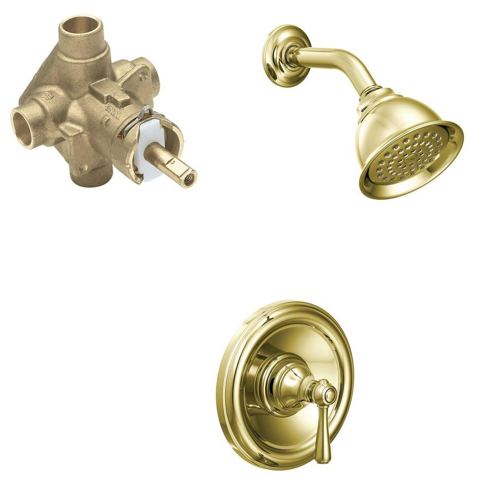 MOEN Kingsley Single-Handle 1-Spray PosiTemp Shower Faucet Trim Kit with Valve in Polished Brass (Valve Included)