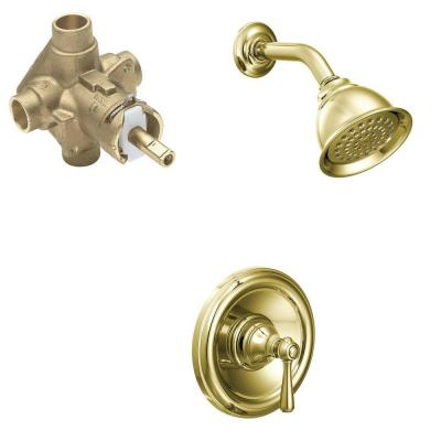 Kingsley Single-Handle 1-Spray Posi-Temp Shower Faucet Trim Kit with Valve in Polished Brass (Valve Included)