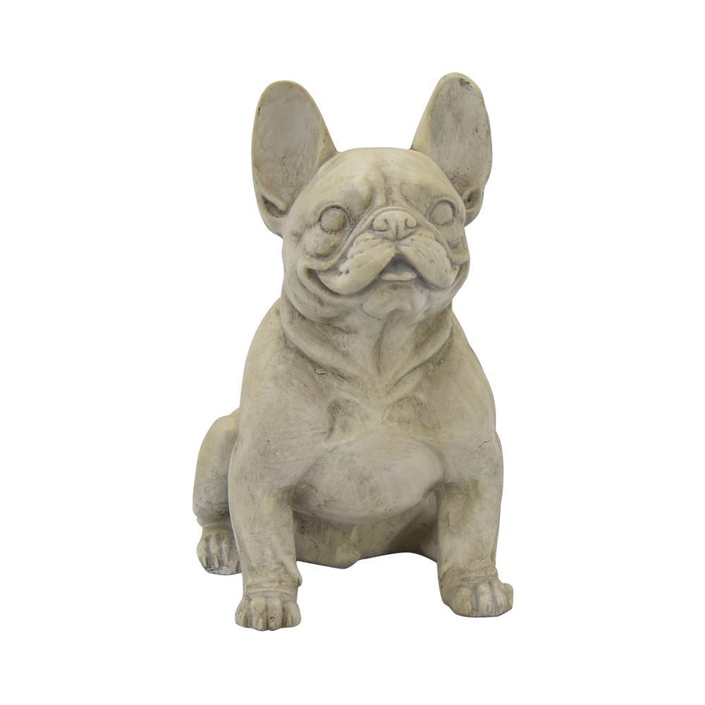 16 in. x 10 in. x 17 in. Dog Sitting in Gray Resin/Magnesium