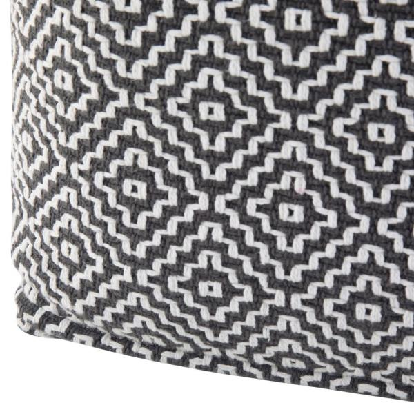 Simpli Home Currie Transitional Square Pouf in Black Grey White Patterned Cotton