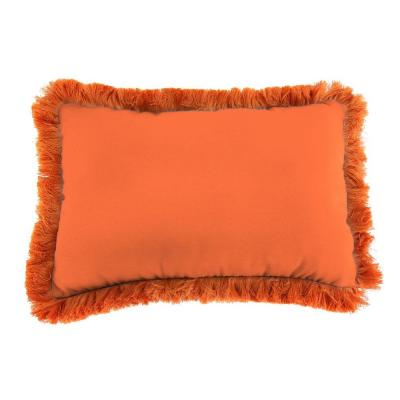Sunbrella 9 in. x 22 in. Canvas Tuscan Lumbar Outdoor Pillow with Tuscan Fringe