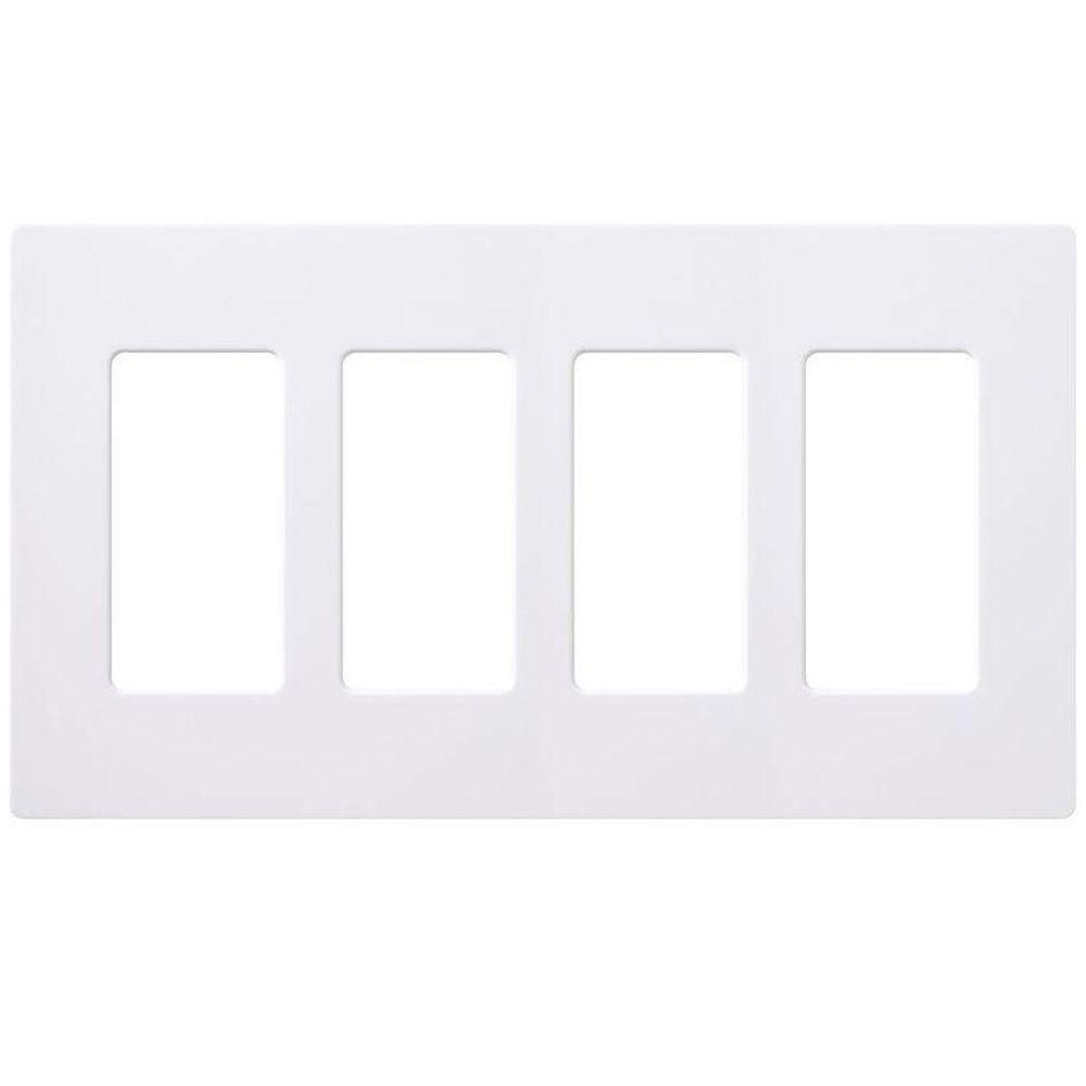 Lutron Claro 4 Gang Decorator Wallplate White Cw 4 Wh The Home Depot