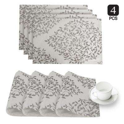Spring Time Silver Linen-Blend Printed Fabric Placemat (Set of 4)