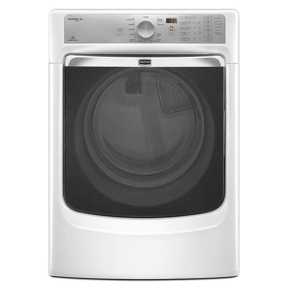Maytag Maxima XL 7.4 cu. ft. Electric Dryer with Steam in White-DISCONTINUED
