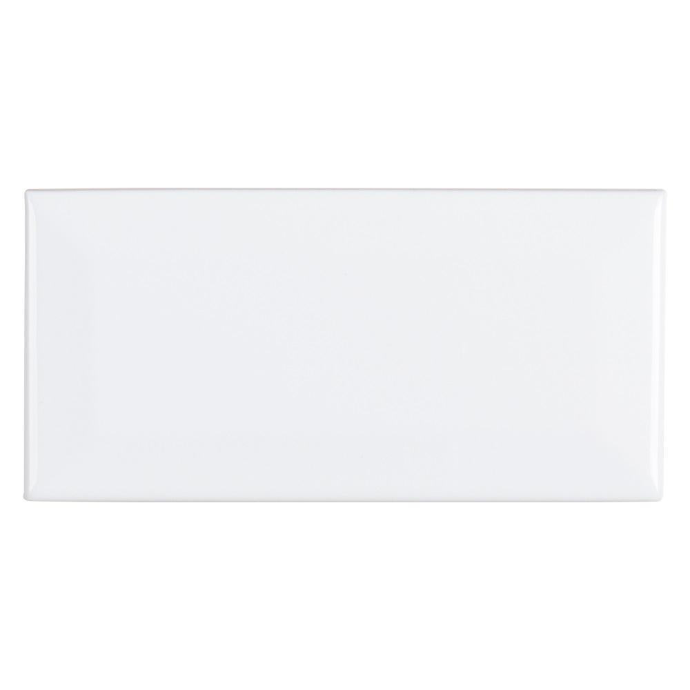 Fresh White 3 in. x 6 in. Ceramic Bevel Field Wall