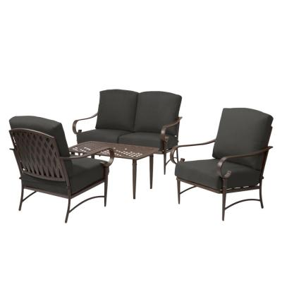 Oak Cliff Brown 4-Piece Steel Outdoor Patio Conversation Seating Set with CushionGuard Graphite Dark Gray Cushions