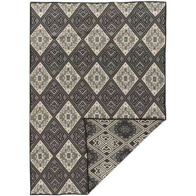 Salonika Naoussa Black with Gray and Cream 5 ft. x 7 ft. Reversible Rectangle Area Rug
