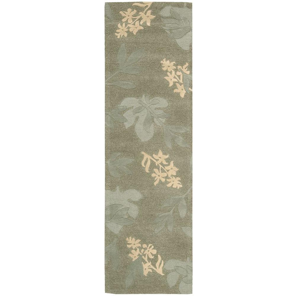 nourison shadow leaves green 2 ft 3 in x 8 ft rug runner 006776 the home depot. Black Bedroom Furniture Sets. Home Design Ideas