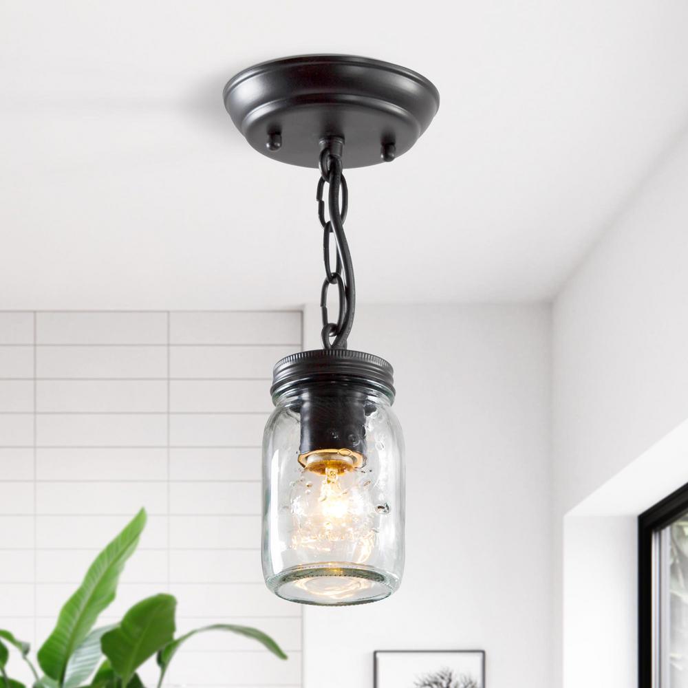 Semi Flush Mount Lighting Towneri 1-Light Oil-Rubbed Bronze Modern Ceiling Light Mason Jar Glass Mini Pendant Light