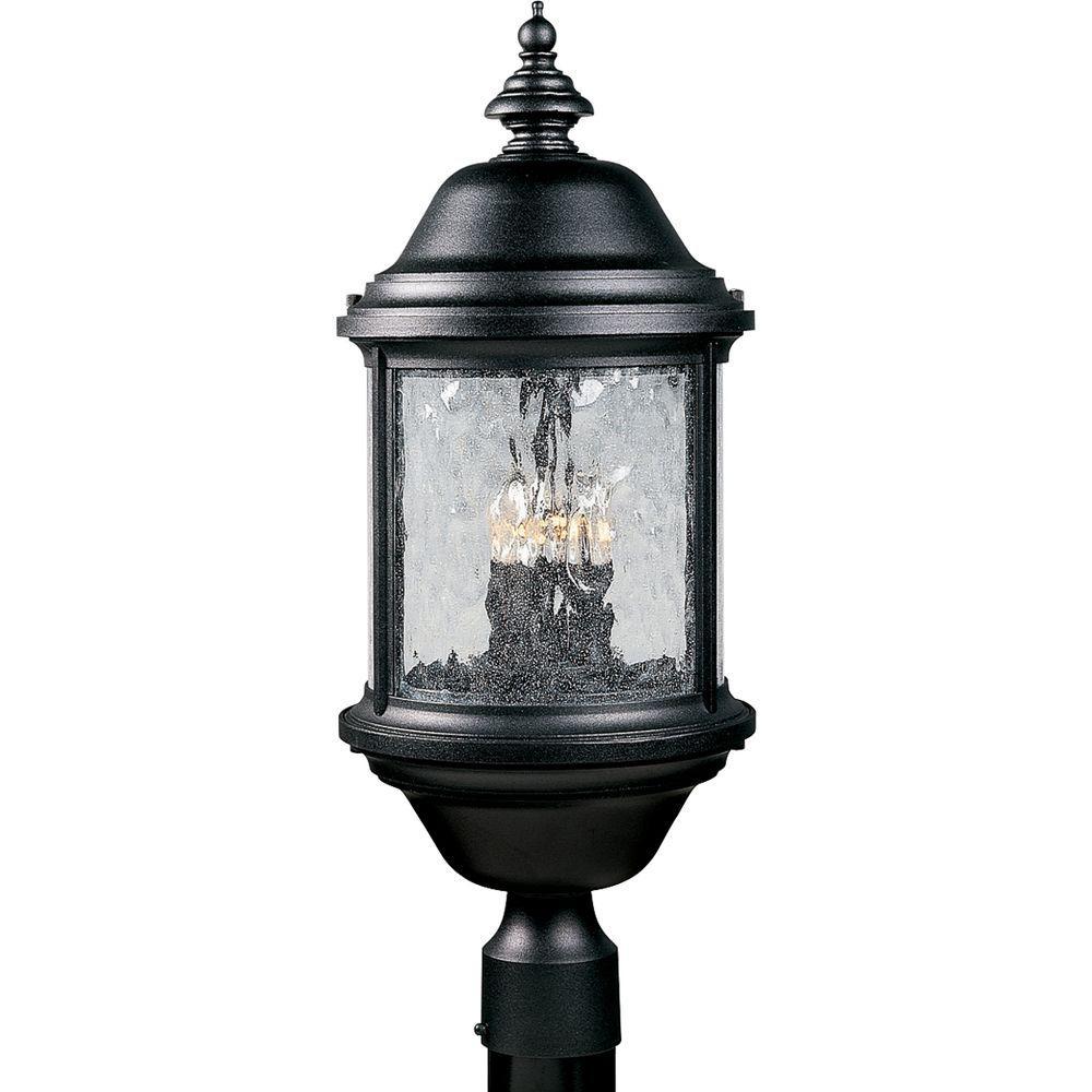 Ashmore Collection Textured Black 3-Light Outdoor Post Lantern