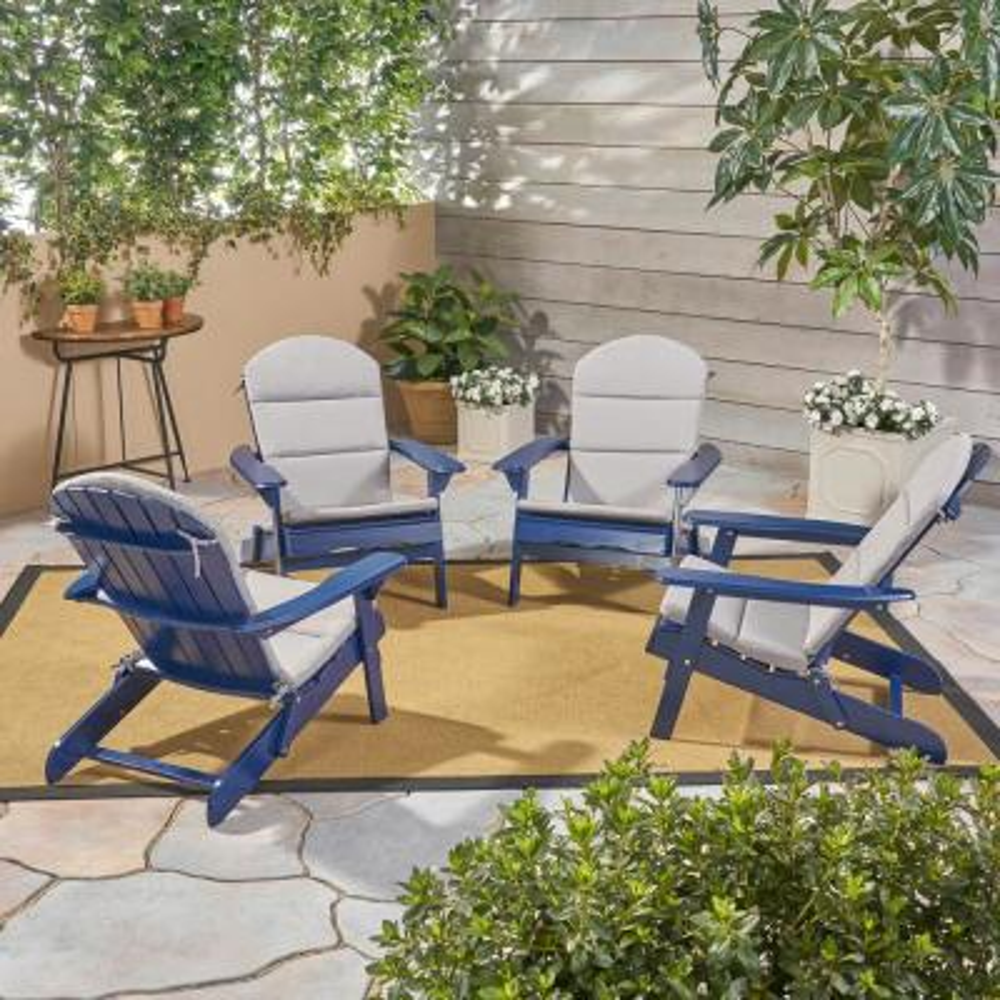 Malibu Navy Blue Wood Adirondack Chair with Grey Cushion (4-Pack)