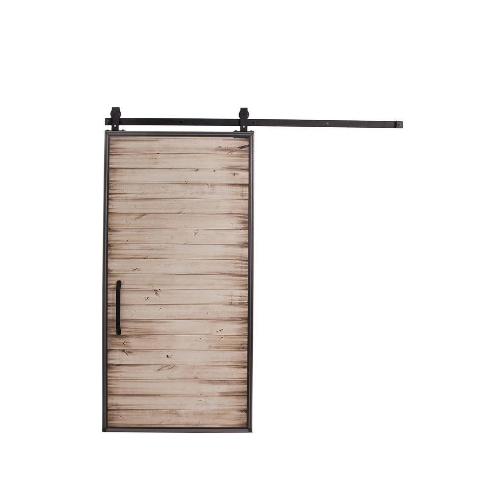 42 in. x 84 in. Mountain Modern White Wash Wood Barn Door with Mountain Modern Sliding Door Hardware Kit