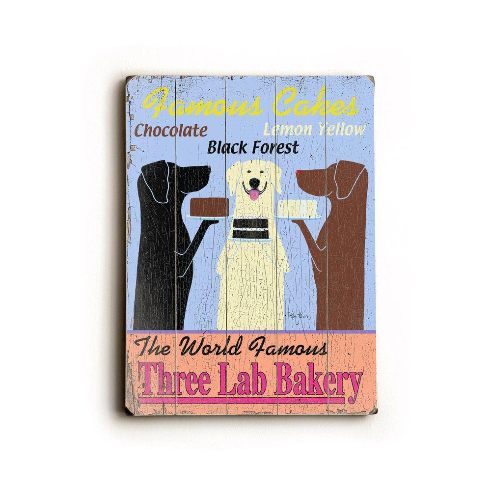 ArteHouse 14 in. x 20 in. Three Lab Bakery Vintage Wood Sign-DISCONTINUED