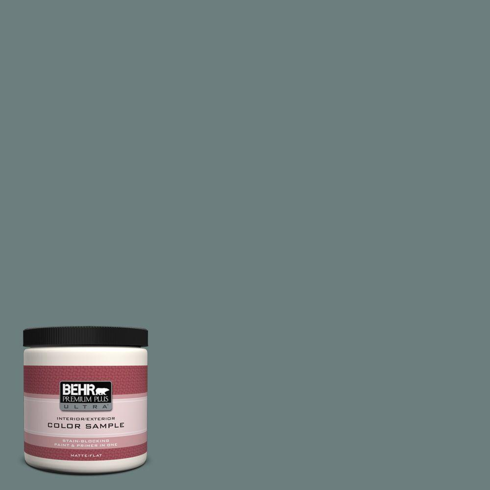 8 oz. #N440-5 Coney Island Flat Interior/Exterior Paint and Primer in