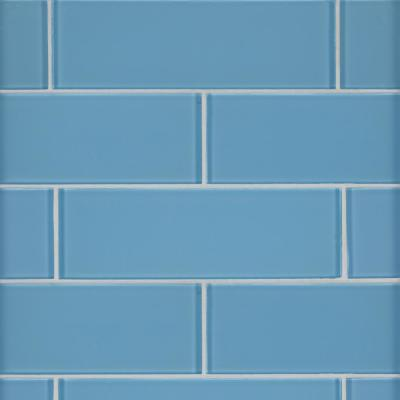 Royal Azure 3 in. x 6 in. x 8mm Glossy Glass Blue Subway Tile (1 sq. ft. / Case)