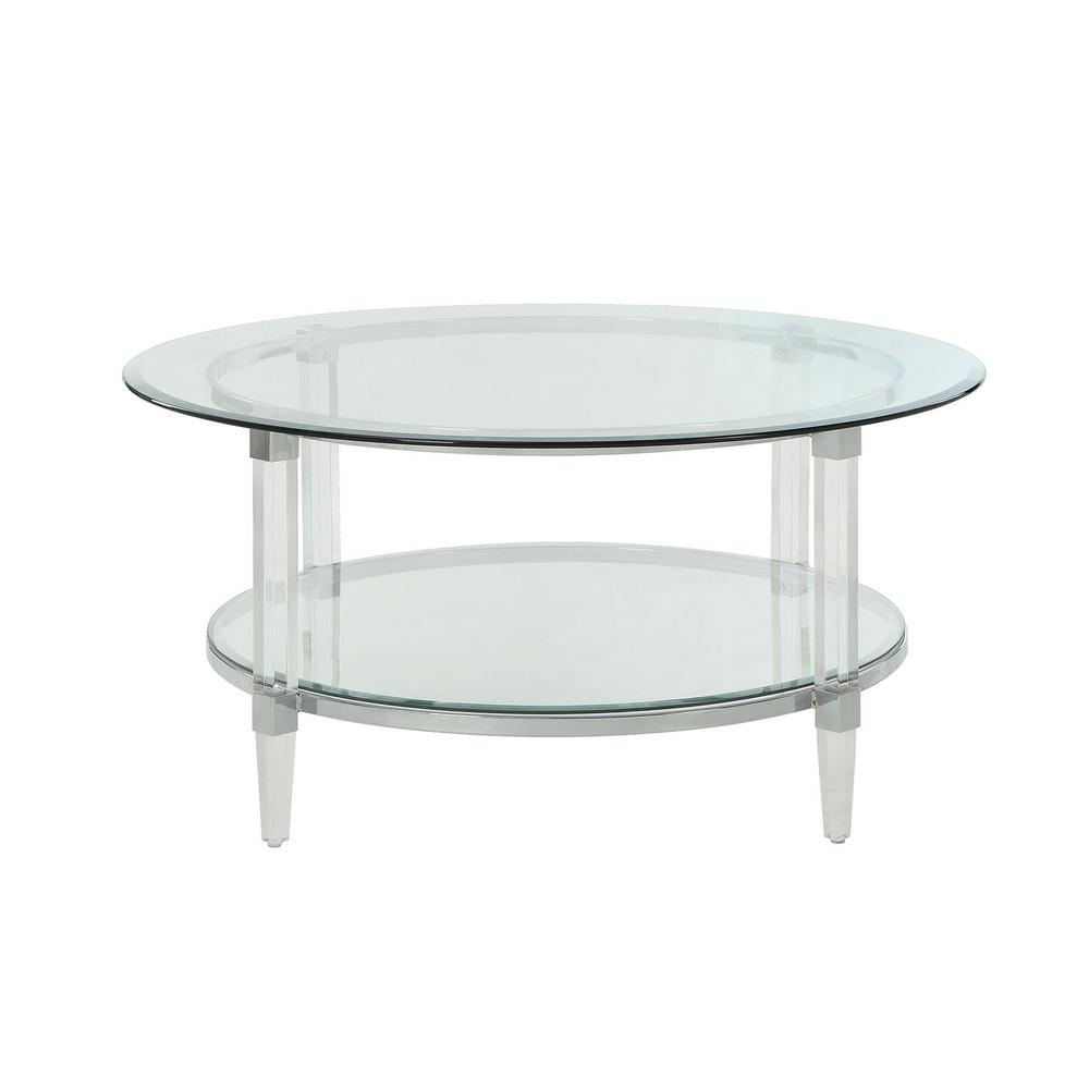 Attractive Acme Furniture Polyanthus Clear Acrylic, Chrome And Clear Glass Coffee Table