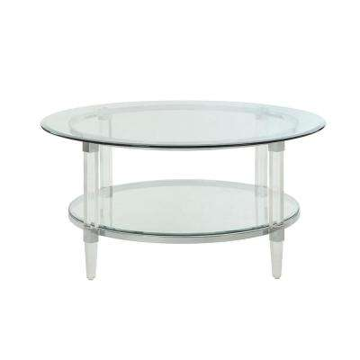 Polyanthus Clear Acrylic, Chrome and Clear Glass Coffee Table