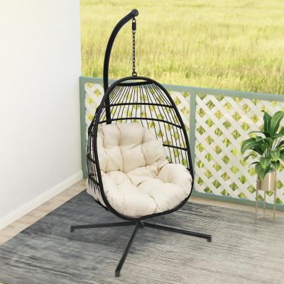 Wicker Hanging Basket Outdoor Swing Chair with Beige Cushion and Black Stand