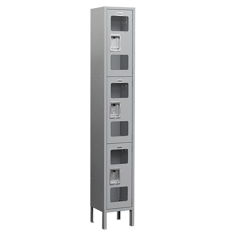 Salsbury Industries S-63000 Series 12 in. W x 78 in. H x 12 in. D 3-Tier See-Through Metal Locker Unassembled in Gray