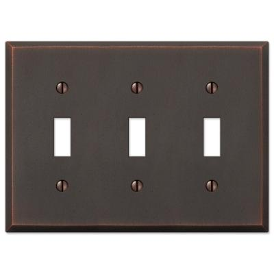 Manhattan 3 Gang Toggle Metal Wall Plate - Aged Bronze