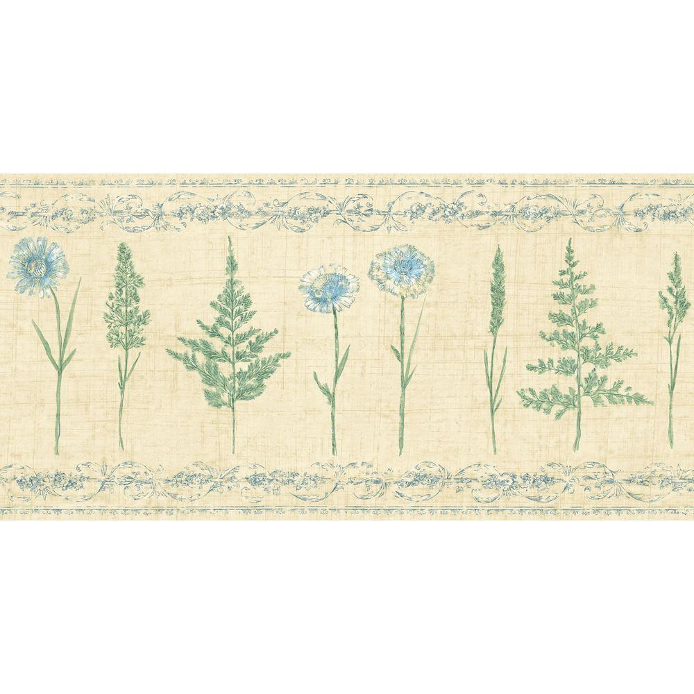 The Wallpaper Company 10.25 in. x 15 ft. Blue and Green Herbs and Wheat Border