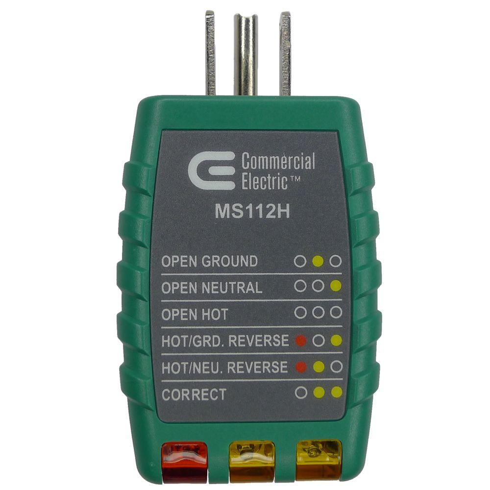 commercial electric tools outlet tester green ms112h the home depot rh homedepot com Wireless Receptacle Tester Outlet Tester