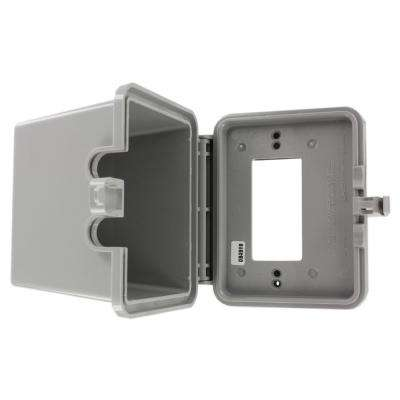 Decora/GFCI 1-Gang Raintight While-In-Use Device Mount Horizontal Cover with Extra Deep Lid, Gray