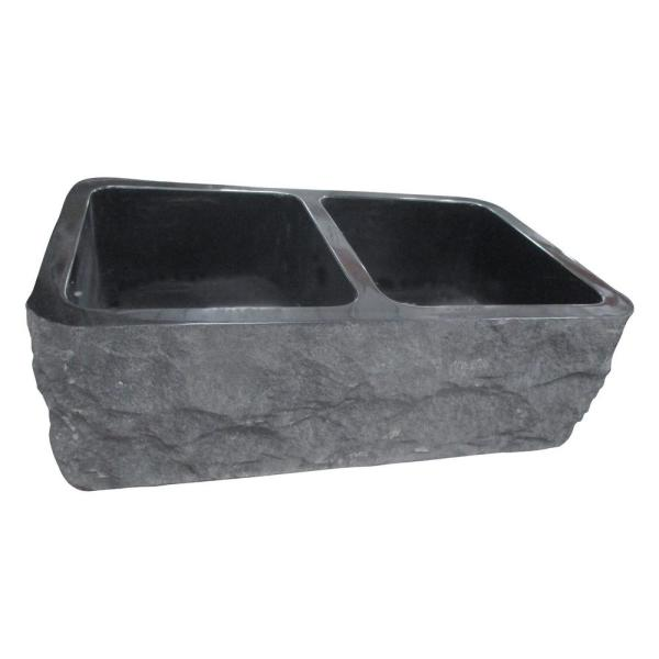 Bowdon Farmhouse Apron Front Granite Composite 33 in. 50/50 Double Bowl Kitchen Sink in Polished Black