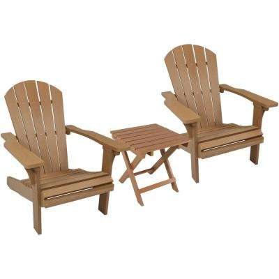 All-Weather Brown Plastic Patio Adirondack Chair with Side Table (Set of 2)