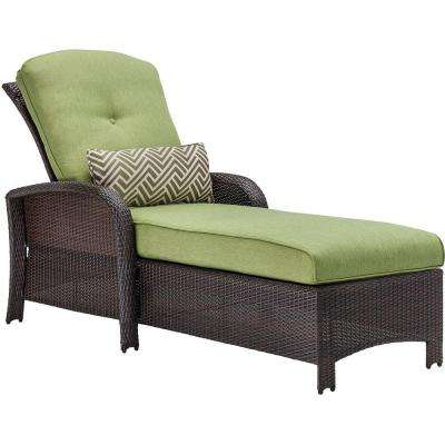Strathmere All-Weather Wicker Patio Luxury Chaise with Cilantro Green Cushion
