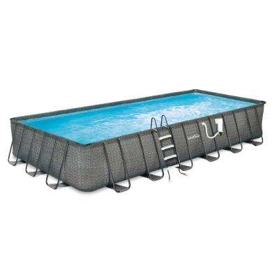 Dark Wicker 12 ft. x 24 ft. Rectangular 52 in. Deep Metal Frame Pool Package