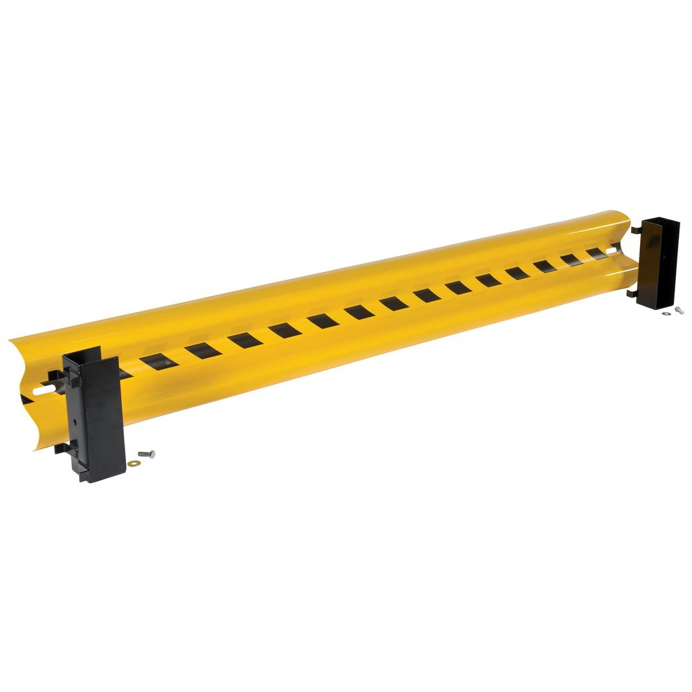 Yellow Steel Guard Rail With 2 Drop In Style Brackets And
