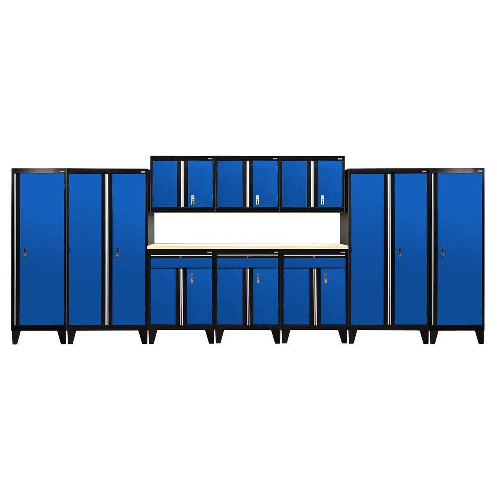 79 in. H x 228 in. W x 18 in. D Modular Garage Welded Steel Cabinet Set in Black/Blue (11-Piece)