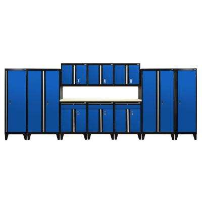 79 in. H x 228 in. W x 18 in. D Modular Garage Welded Steel Storage System in Black/Blue (11-Piece)