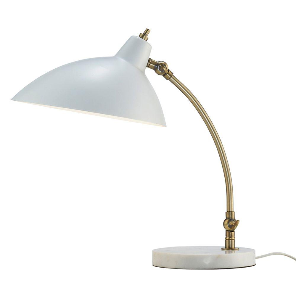 Peggy 18 in. White Desk Lamp with Marble Base