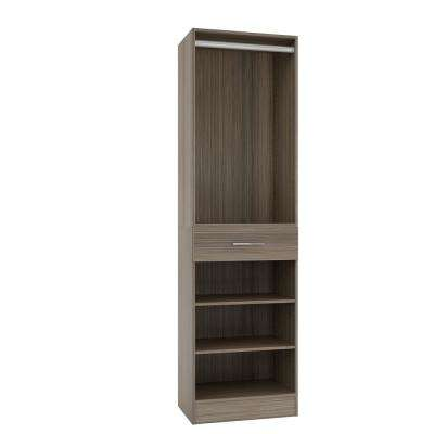 15 in. D x 24 in. W x 84 in. H Calabria Platinum Melamine with 3-Shelves, Drawer and Hanging Rod Closet System Kit