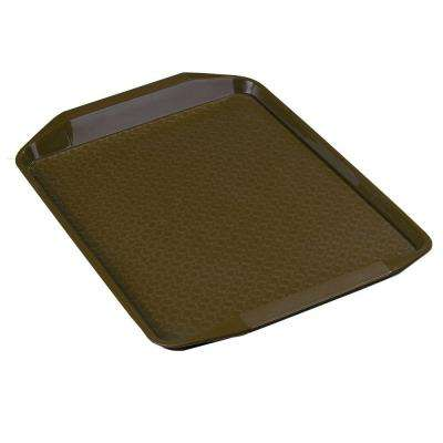 12 in. x 17 in. Polypropylene Serving/Food Court Tray with Handle in Chocolate Brown (Case of 24)