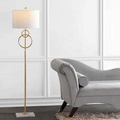 Haines 60 in. Modern Circle Marble/Metal LED Floor Lamp, Gold