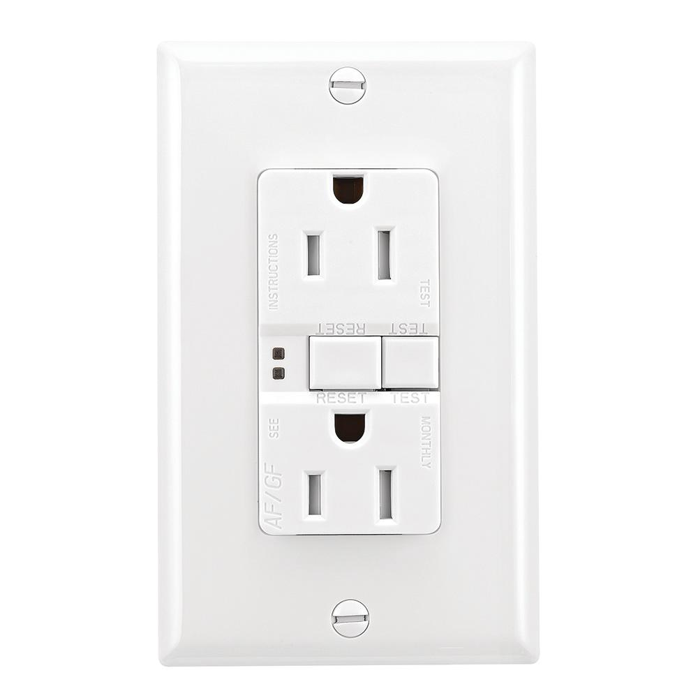 eaton 15 amp afci gfci duplex receptacle white trafgf15w. Black Bedroom Furniture Sets. Home Design Ideas