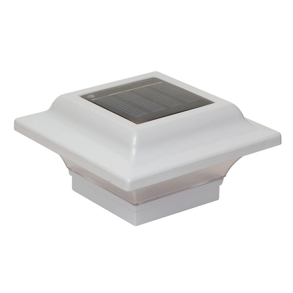 Classy Caps 2.5 in. x 2.5 in. White Aluminum Imperial Outdoor Solar Post Cap (2-Pack)