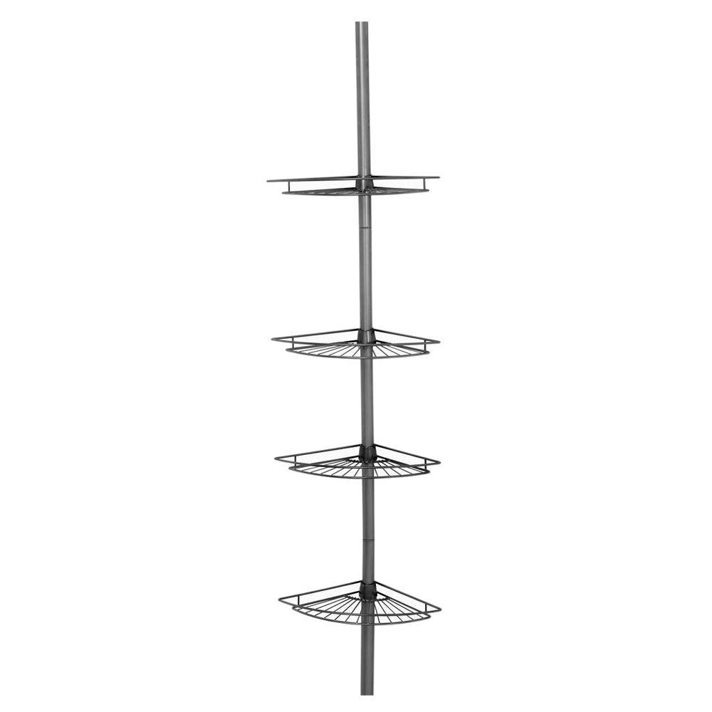Zenna Home Tub and Shower Tension Pole Caddy with 4 Shelf in Satin Nickel