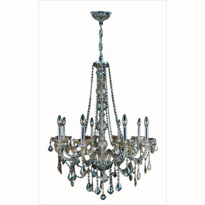 Provence Collection 8-Light Chrome with Golden Teak Crystal Chandelier
