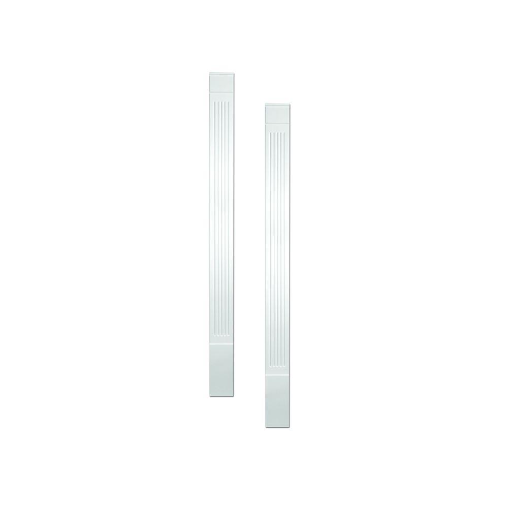 Fypon 1-1/4 in. x 5-1/4 in. x 90 in. Primed Polyurethane Fluted Economy Pilaster Moulding with Plinth Block