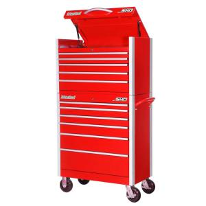 International SHD Series 35 inch 11-Drawer Tool Chest and Cabinet Combo in Red by International