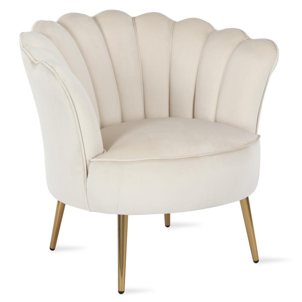 Presley Modern Glam Cream Seashell Accent Chair