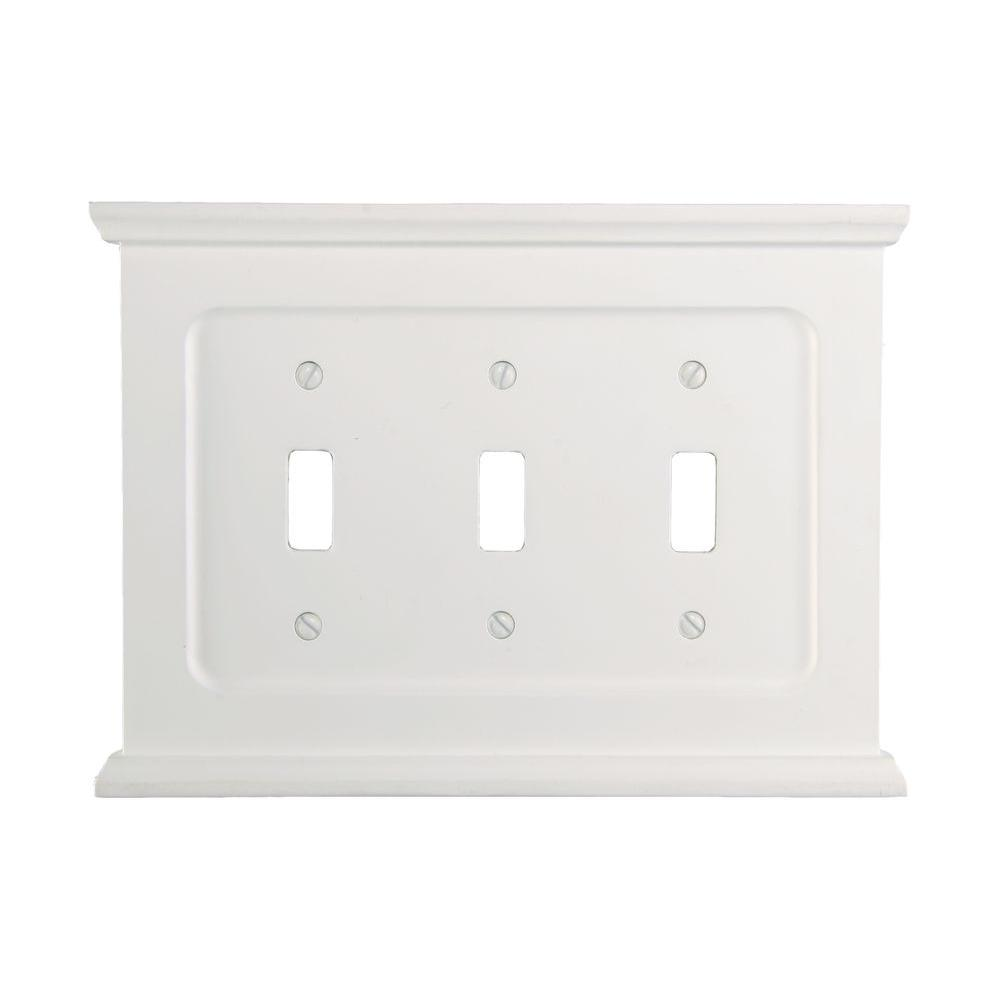 Amerelle Mantel 3 Toggle Wall Plate - White