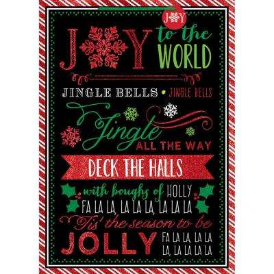 28 in. x 20 in. x 7 in. Whimsical Chalkboard Carols Jumbo Bags with Glitter (5-Pack)
