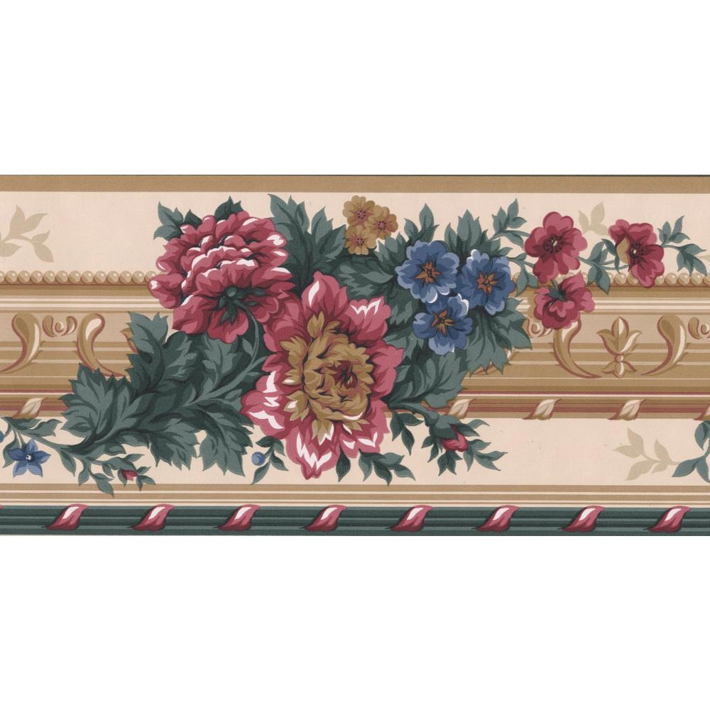 Retro Art Red Blue Brown Flowers Victorian Prepasted Wallpaper