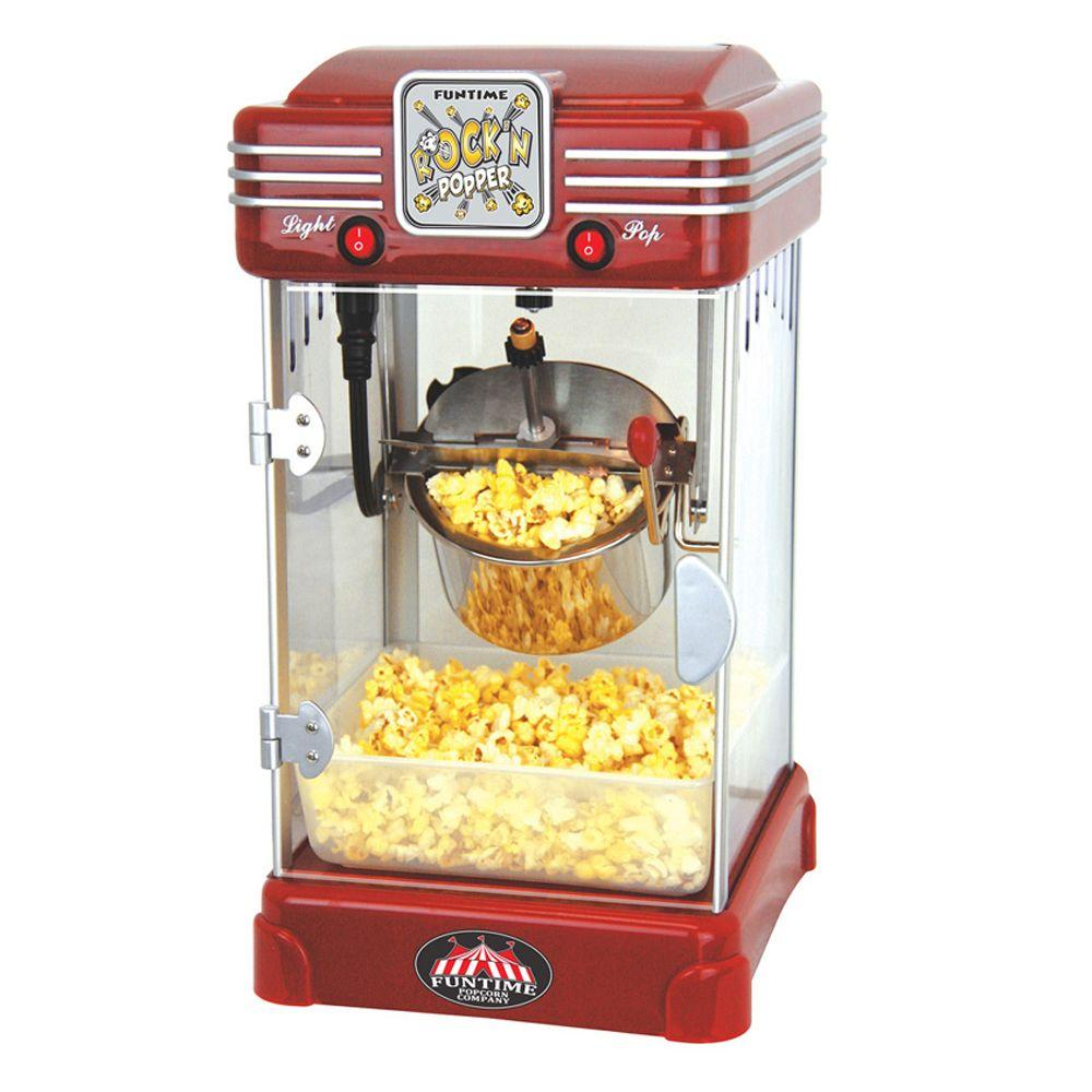 Funtime Rock'n Popper 2.5 oz. Popcorn Machine, Red The NEW Rock'n Popper pops the same delicious, buttery popcorn as our larger models. With it you get all the benefits of a hot oil popper in a small, compact design that will fit on your kitchen counter next to other small appliances. Its retro cherry red design goes great with any kitchen decor and when you're done simply slide it back on your counter under your kitchen cabinets.